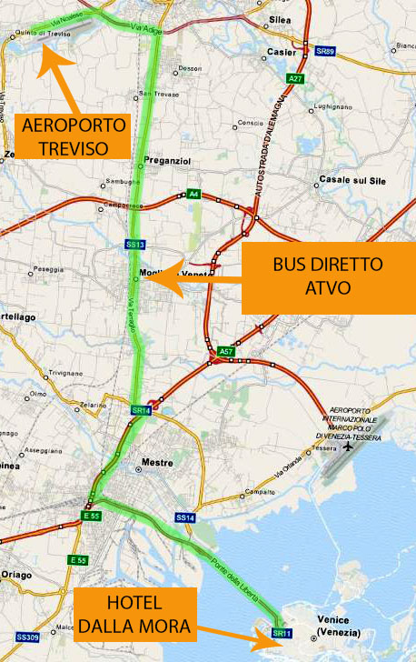 map showing the bus route from Treviso airport to Venice, and then walking to the hotel dalla mora.