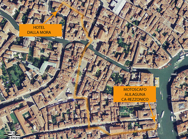 hotel dalla mora photographic map with the walking path from the alilaguna motorboat, ca rezzonico.