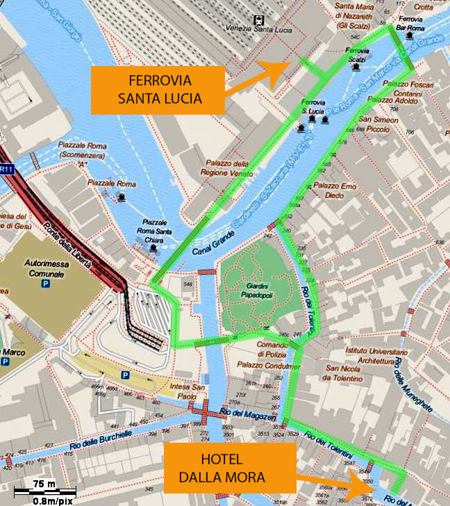 map showing the walking routes from the santa lucia train station to the hotel Dalla Mora.