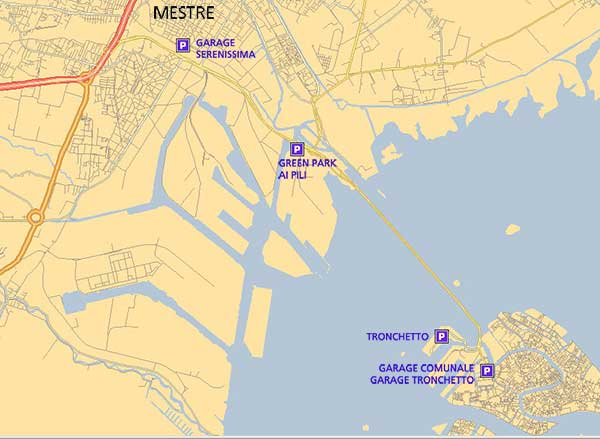 Hotel Dalla Mora, the full map of the parks and Garages, in Venice and Mestre.
