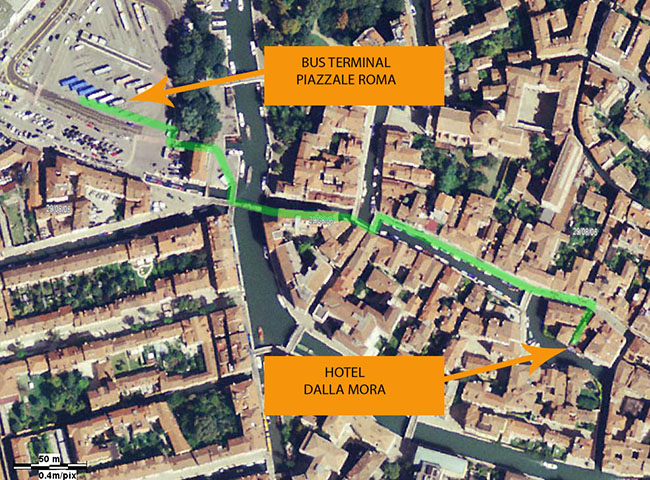 hotel dalla mora photographic map with the walking path from piazzale roma.